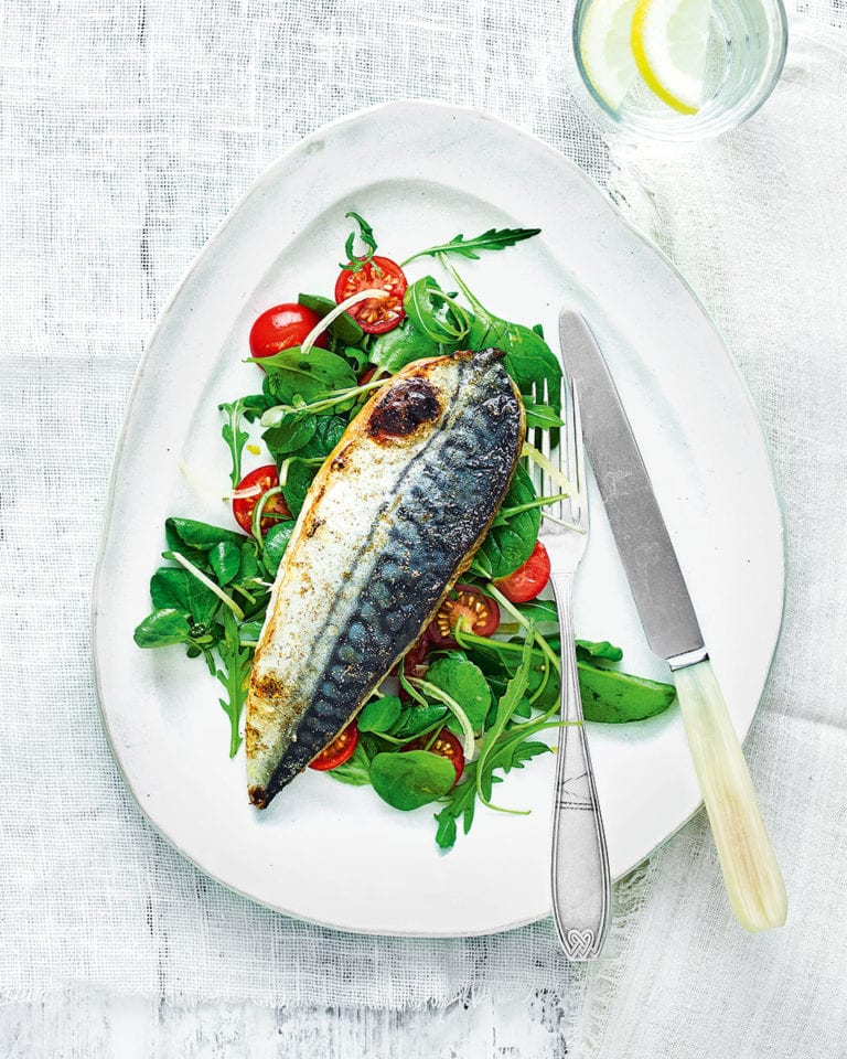 Grilled mackerel with tomato and preserved lemon salad