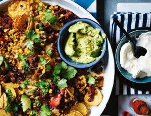 Mexican black bean nachos