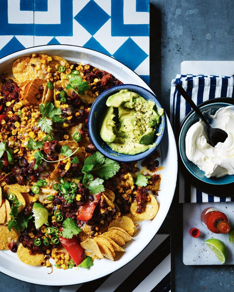 Mexican black bean nachos