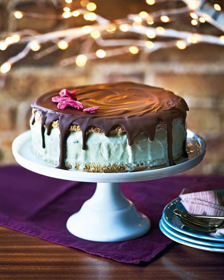 Pistachio and rose ice cream cake