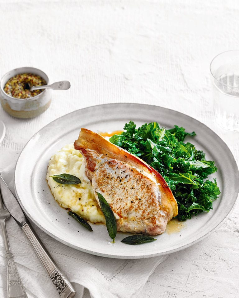 Pan-fried pork chop with sage and apple mash
