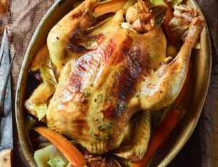 Honey, cider and thyme pot roast chicken