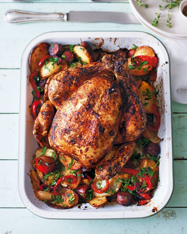 Paprika Roast Chicken With Potatoes And Peppers Recipe Delicious Magazine