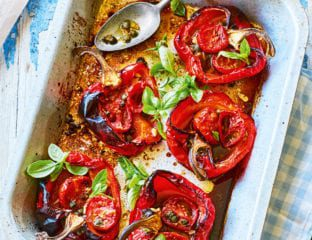 Roasted red peppers with basil