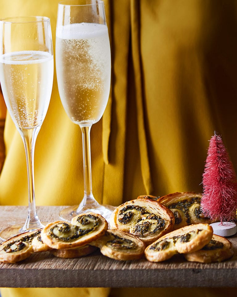Spinach and pine nut palmiers