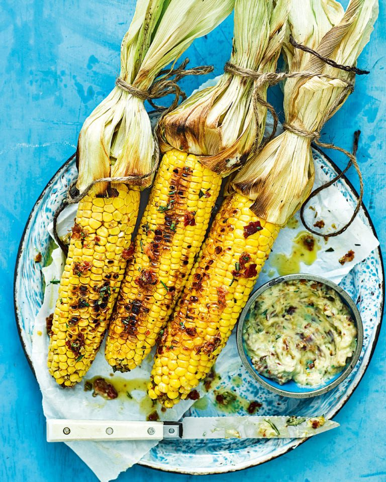 Sweetcorn with pancetta, rosemary and garlic butter