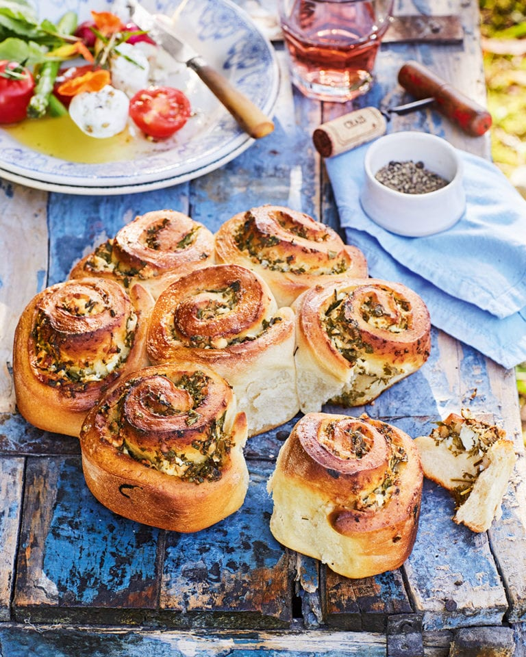 Tear and share feta and herb bread