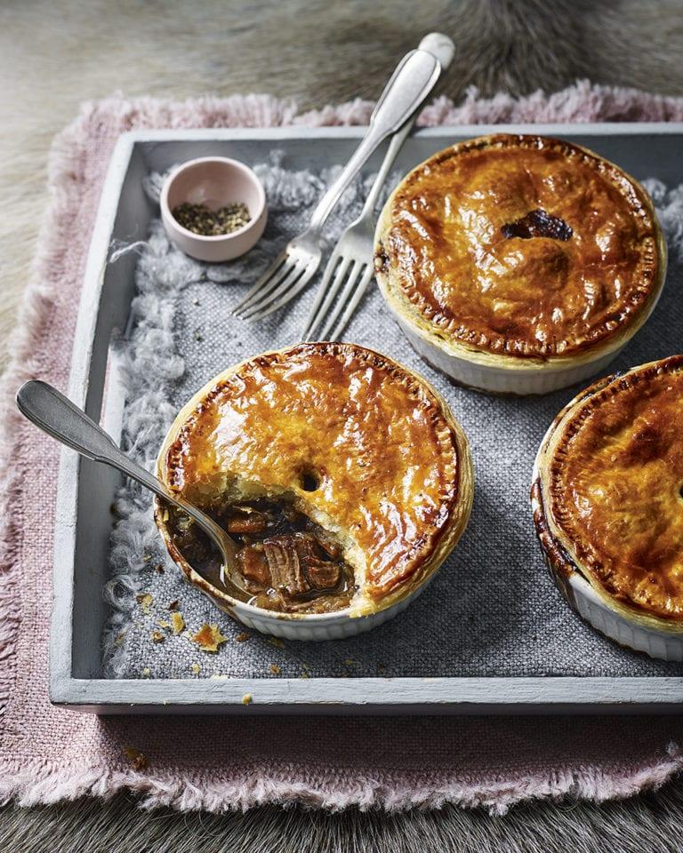 Venison and stout pot pies