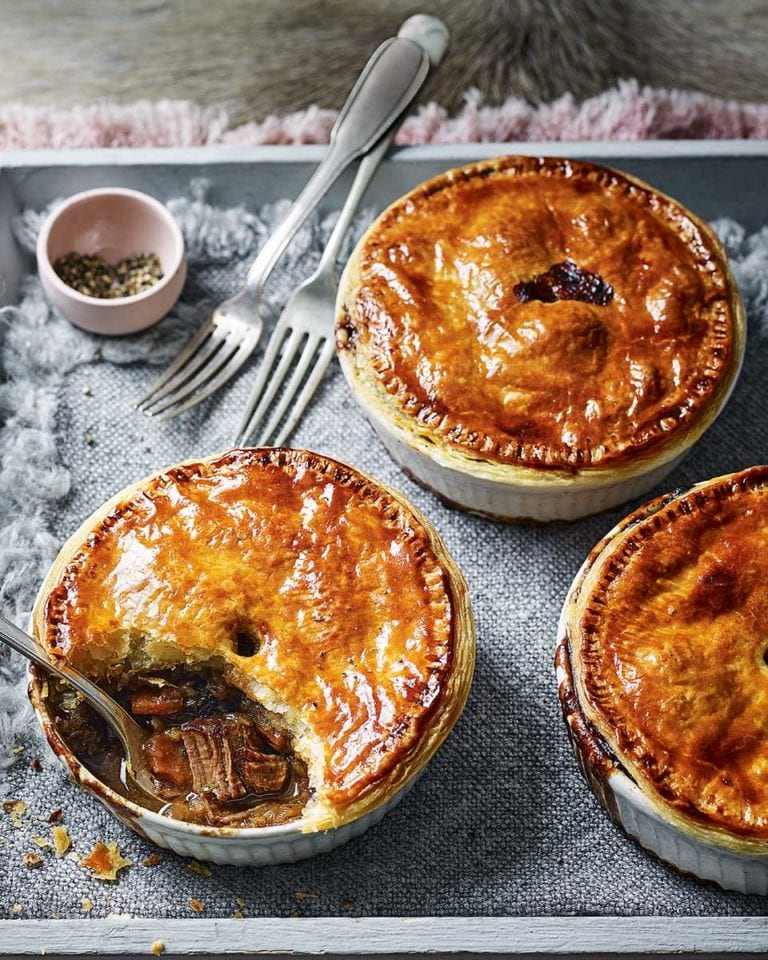 Venison and stout pot pies