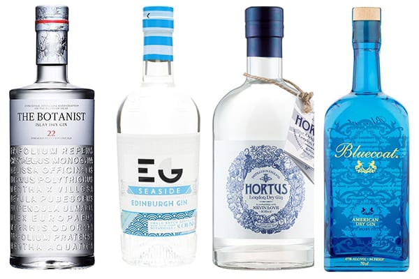 gin in blue bottles