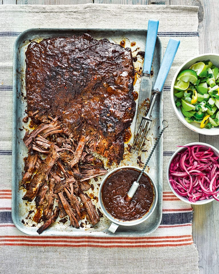 Mexican-style barbecued beef brisket with quick-pickled onions