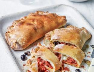 Olive, artichoke and mozzarella calzone