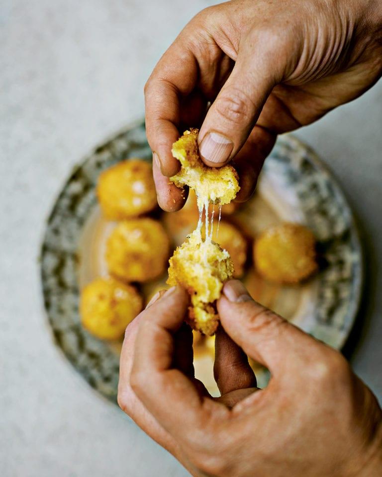 Cheesy polenta fritters