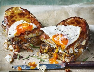 Mushroom Welsh rarebit toastie with a fried egg