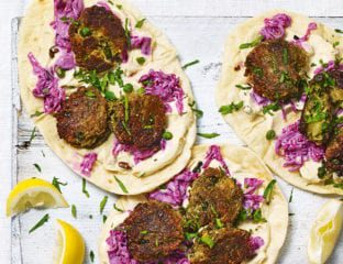 Halloumi and pea falafel flatbreads with houmous and slaw