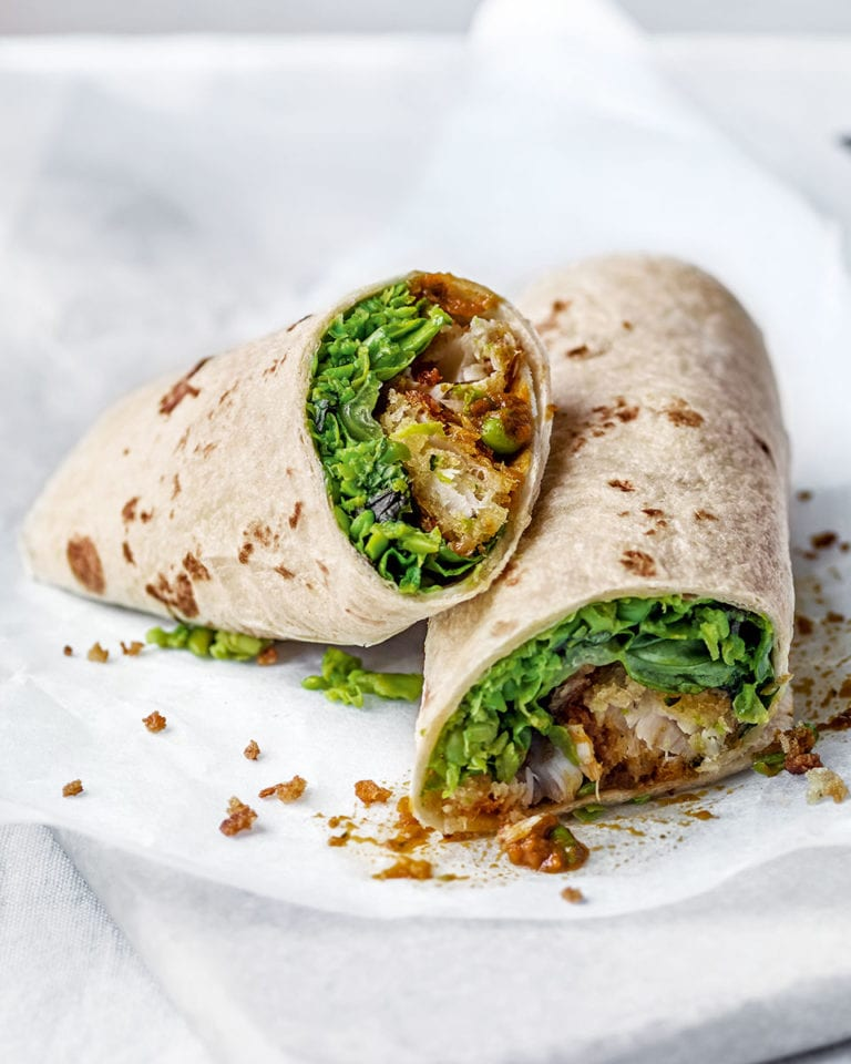 Chunky 'chip shop' fish and pea wraps
