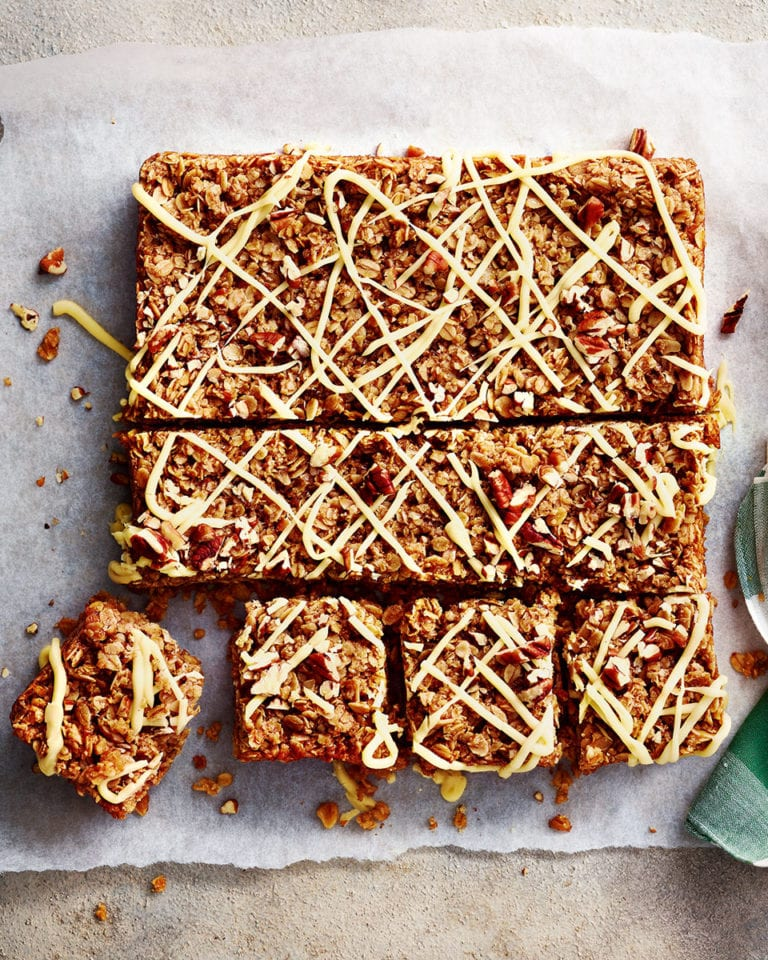 Oaty maple and pecan flapjacks
