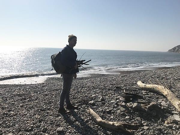 Gill Meller on the beach