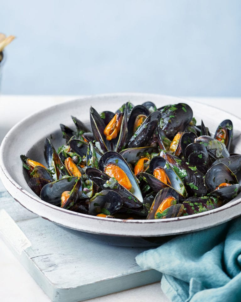 Mussels with salsa verde and olive oil chips