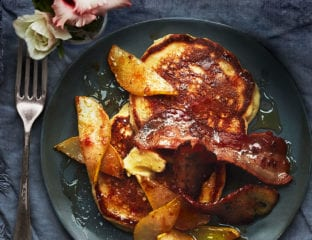 Ricotta pancakes with spiced pear and bacon butter
