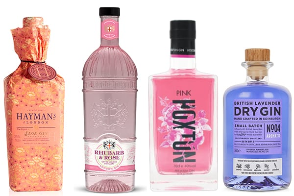 gin in pink and purple bottles