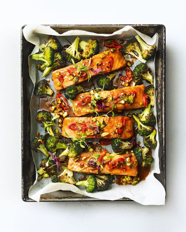 Salmon and broccoli traybake with spring onion and chilli