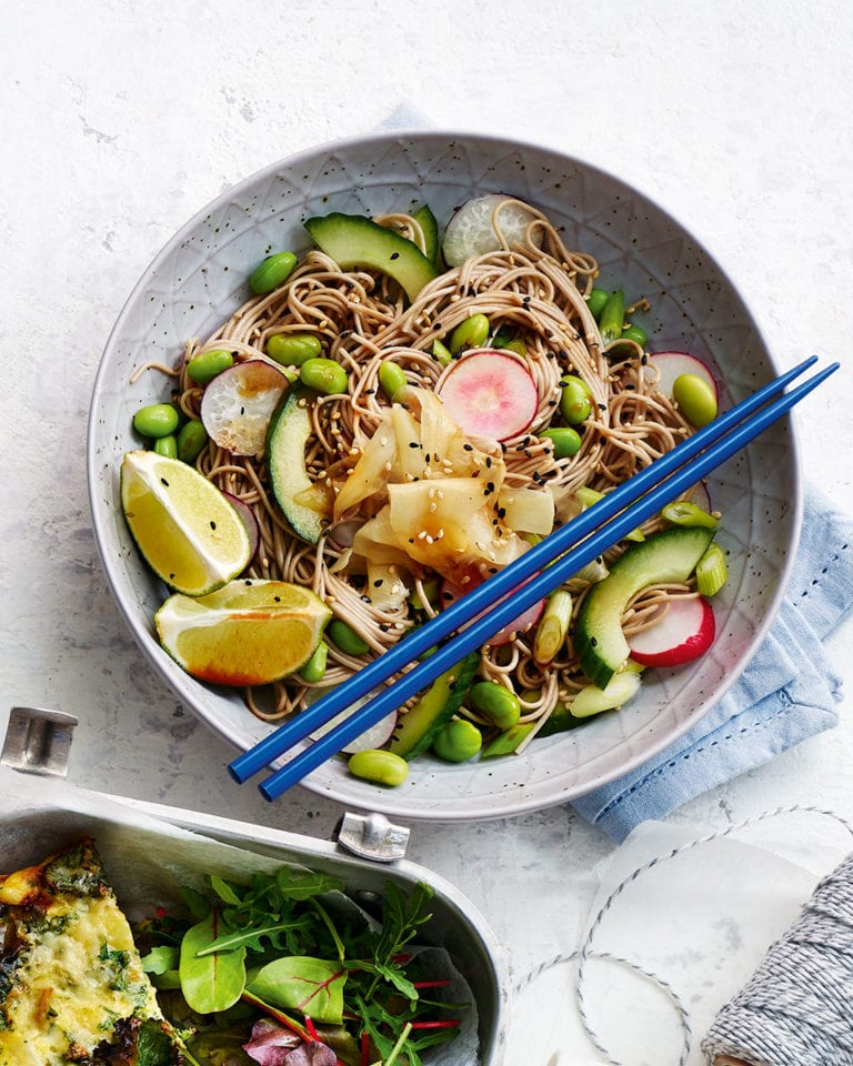 Soba noodle and edamame salad