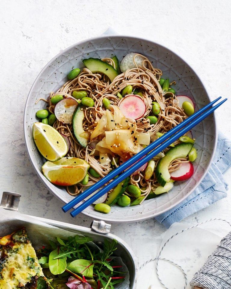 Soba noodle and edamame salad