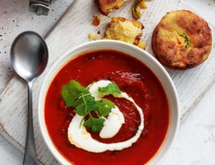 Smoky tomato soup with cheesy cornbread muffins