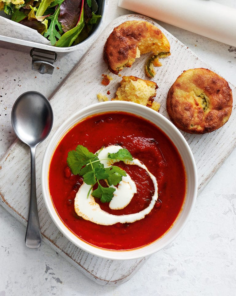 Smoky tomato soup with cheesy cornbread muffins