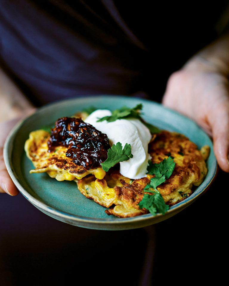 Spicy sweetcorn fritters with tomato chutney