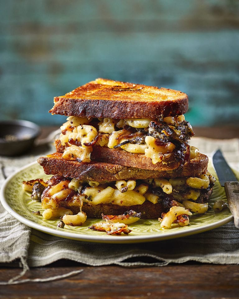 Black pudding macaroni cheese toastie