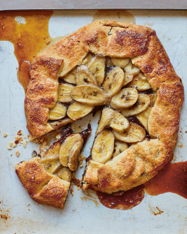 Chocolate, banana and hazelnut galette