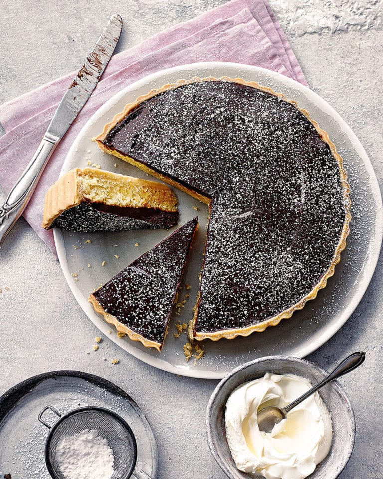 Chocolate, orange and frangipane tart