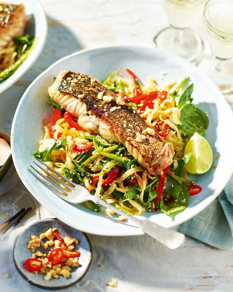 Crisp-skinned coley with Asian rice noodle salad