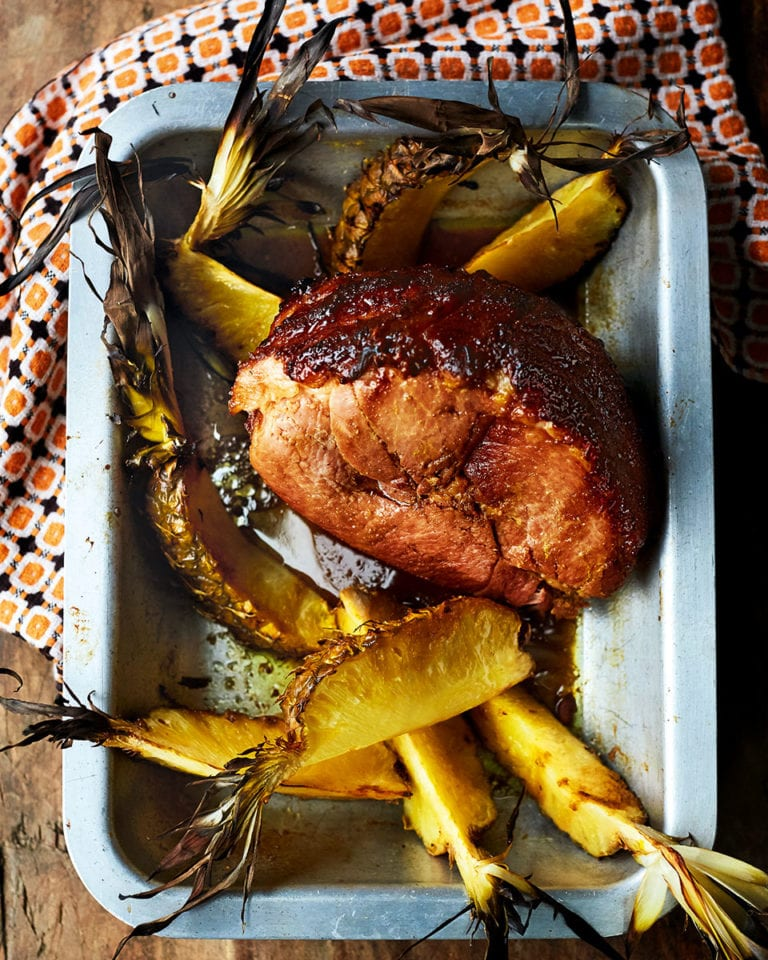 Brown sugar-glazed gammon with roasted pineapple