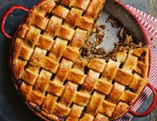 Chicken and mushroom lattice-top pie