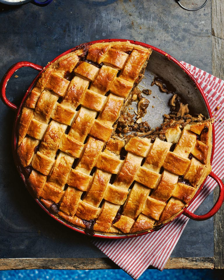 Chicken and mushroom lattice-top pie