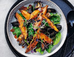 Roast sweet potato, beetroot and red onion salad with miso dressing