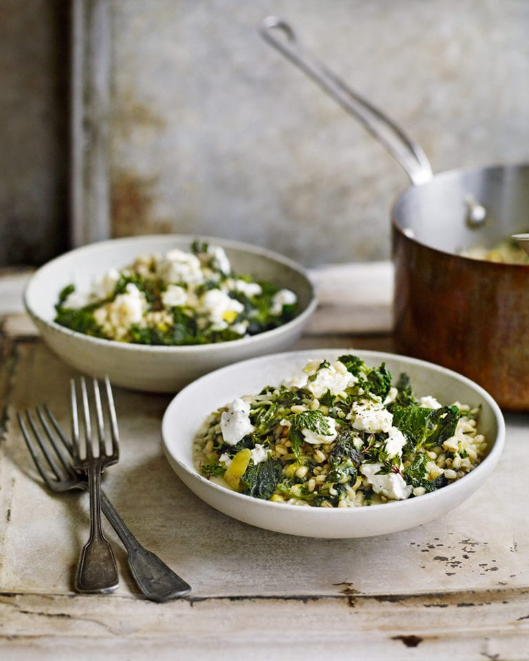 Nettle and barley 'risotto' with goat's cheese