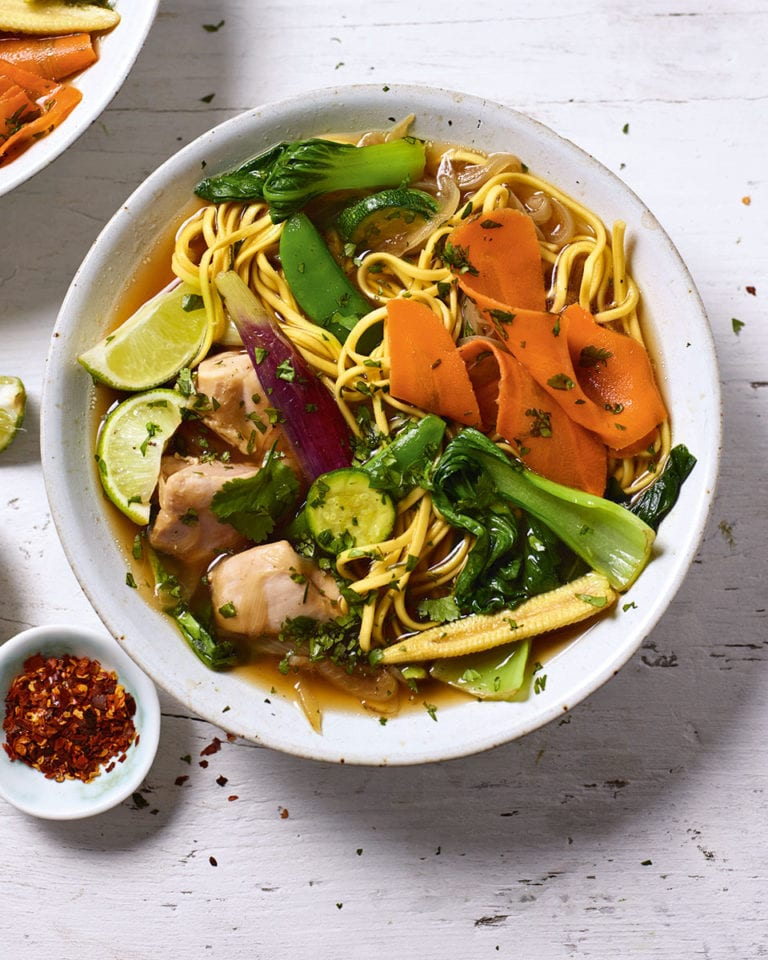 Hainanese chicken noodle soup