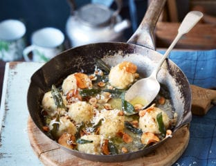 Gnudi with fried sage, hazelnuts and jerusalem artichoke crisps