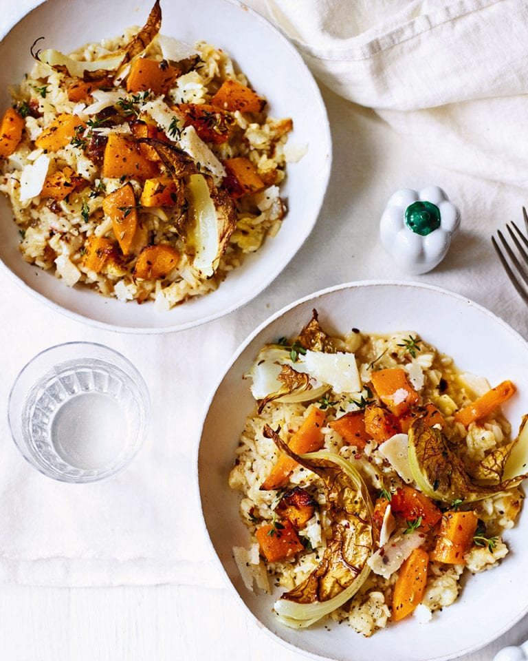 Oven-roasted spiced squash and cauliflower risotto