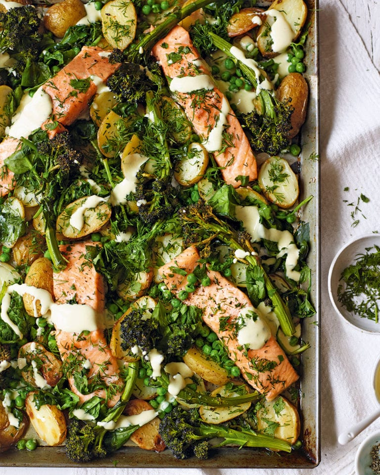 Salmon and broccoli traybake with mustard sauce