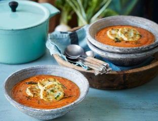Vegetable soup with ricotta dumplings