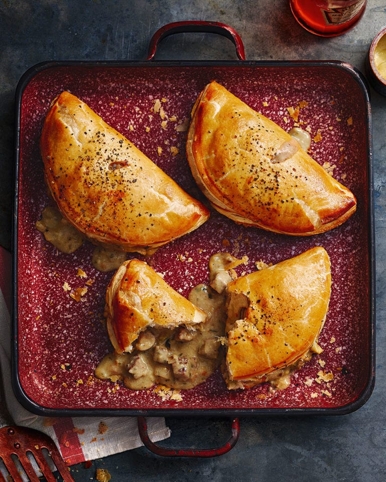 Cheesy steak and mushroom turnovers