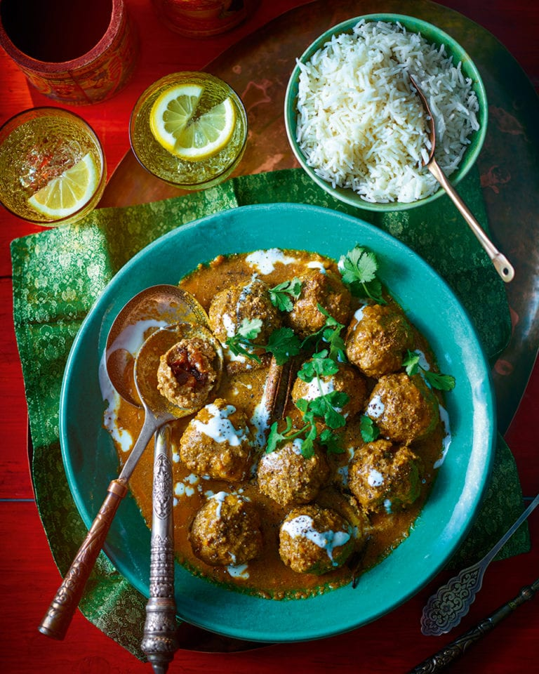 Kashmiri lamb meatballs with prunes