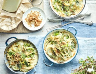 Baked pasta with peas, broad beans, fresh herbs and grana padano