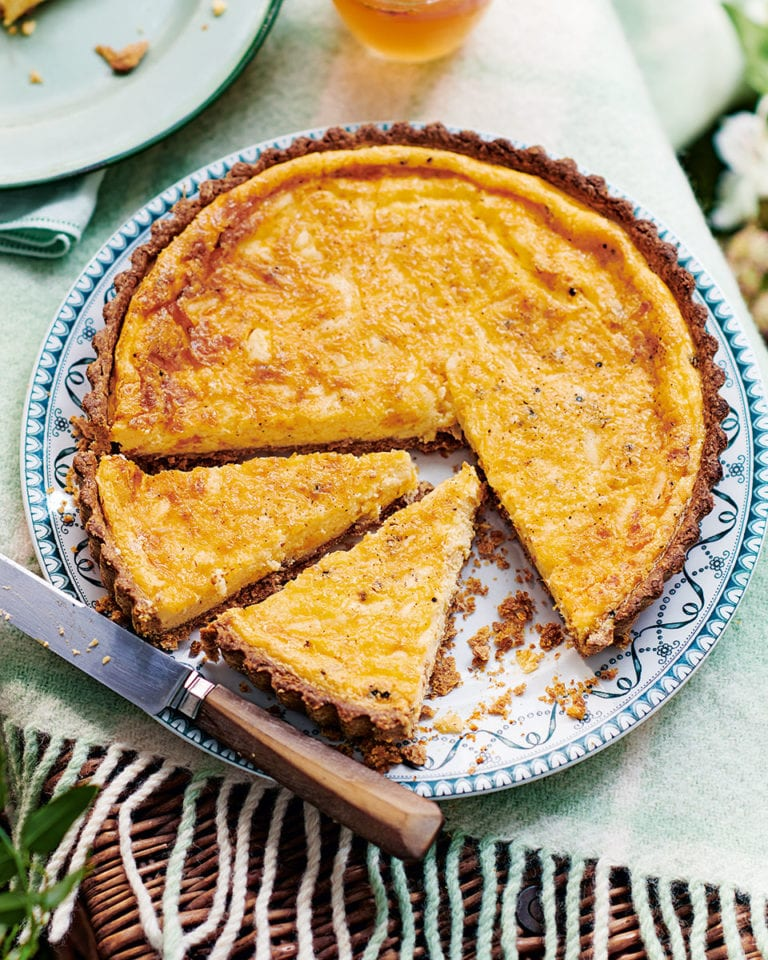 Cheddar and nutmeg custard tart