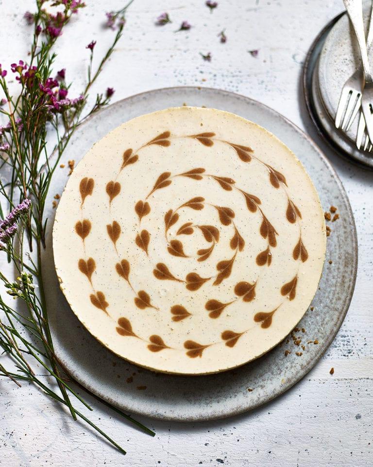 Hazelnut and cinnamon-swirl cheesecake